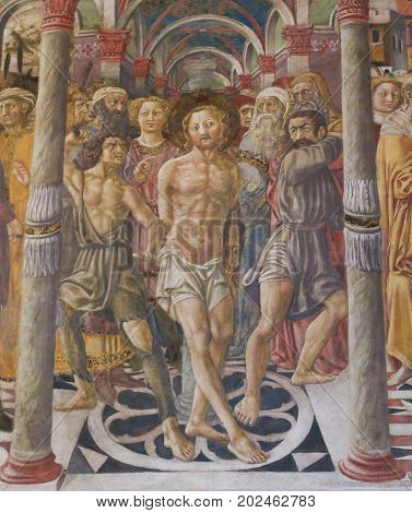 Siena Baptistery - Fresco Of The Flagellation Of Christ