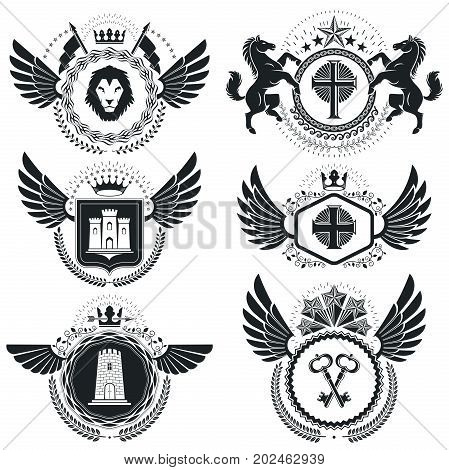 Heraldic Coat of Arms decorative emblems. Collection of symbols in vintage style.