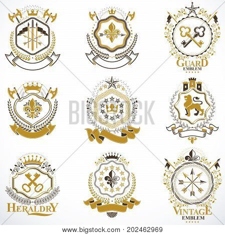 Heraldic vector signs decorated with vintage elements monarch crowns religious crosses armory and animals. Set of classy symbolic graphic insignias.