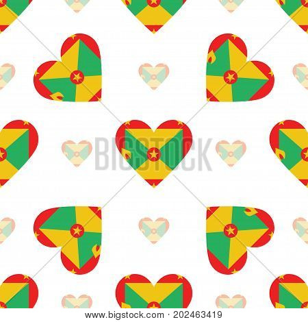 Grenada Flag Patriotic Seamless Pattern. National Flag In The Shape Of Heart. Vector Illustration.