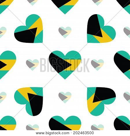 Bahamas Flag Patriotic Seamless Pattern. National Flag In The Shape Of Heart. Vector Illustration.