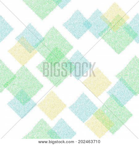 Abstract seamless pattern. Bright spring colors. Tiny dots texture. Rhombuses and squares. Plain backdrop for web-page background or pattern fills.