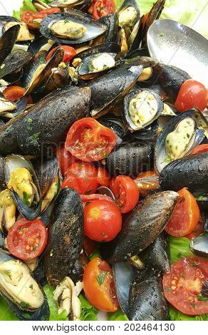 dish with Mussels in the shell with tomatoes