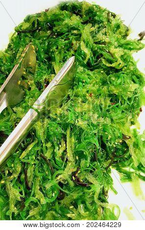 a dish with fresh green Seaweed salad