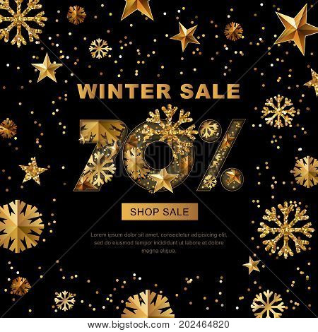 Winter Sale 70 Percent Off, Vector Banner With 3D Gold Stars And Snowflakes. Paper Cut Style 70 Disc