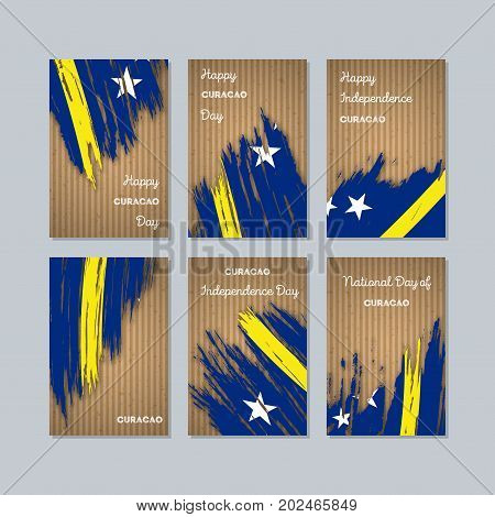 Curacao Patriotic Cards For National Day. Expressive Brush Stroke In National Flag Colors On Kraft P