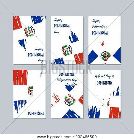 Dominicana Patriotic Cards For National Day. Expressive Brush Stroke In National Flag Colors On Whit