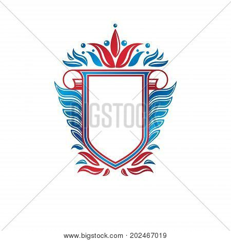 Blank heraldic coat of arms decorative emblem with copy space and cartouche. Empty winged protection shield emblem created with lily flower isolated vector illustration.