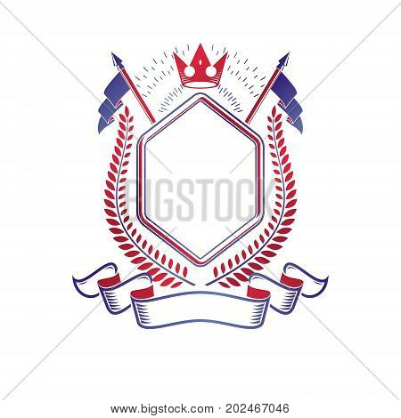Graphic emblem composed using majestic crown and flags. Heraldic Coat of Arms decorative logo isolated vector illustration