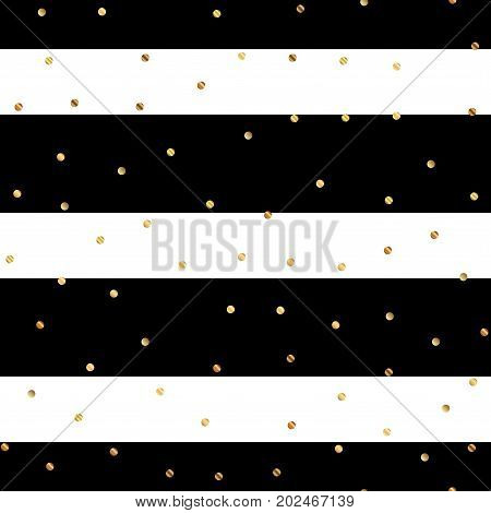 Golden Dots Seamless Pattern On Black And White Striped Background. Wondrous Gradient Golden Dots En