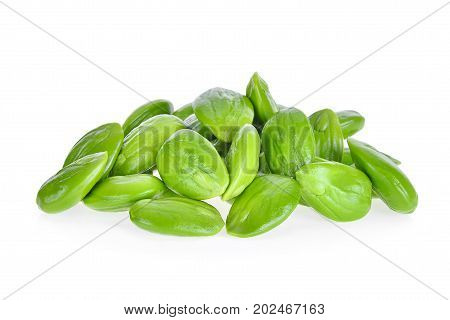 pile of sato parkia speciosa seeds or bitter bean isolated on white background