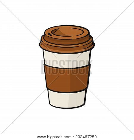 Vector illustration. Paper cup with coffee or tea. Dice-box with  hot drink. Image in cartoon style with contour. Food and hot drink. Isolated on white background