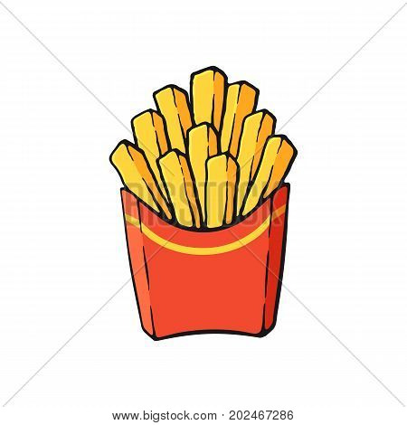 Vector illustration. French fries in a paper red pack. Fried potatoes. Image in cartoon style with contour. Unhealthy food. Isolated on white background