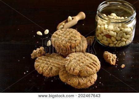 Peanut butter cookies on a black background, copy space