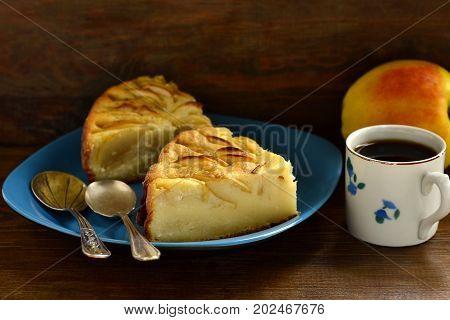 Semolina pie with apples, Serbian koh, selective focus