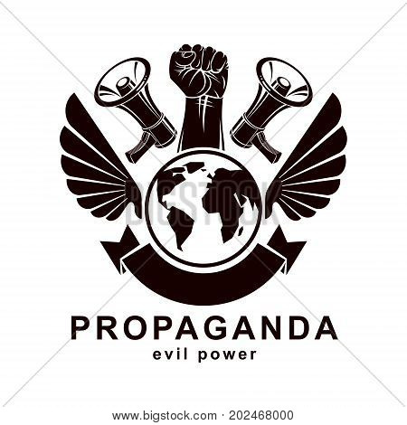 Marketing poster composed with megaphone device Earth globe and raised clenched fist of revolutionary person vector illustration. Propaganda as a powerful weapon of global influence on social behavior