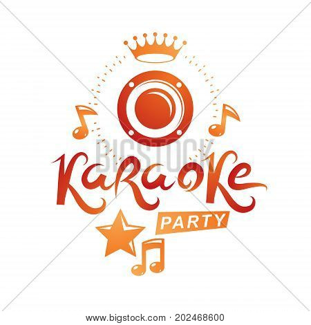 Musical karaoke performance flyer template created with musical notes karaoke party inscription.