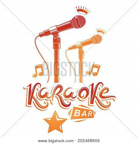 Karaoke bar lettering composed with stage microphone and musical notes vector illustration. Karaoke bar advertising flyer.