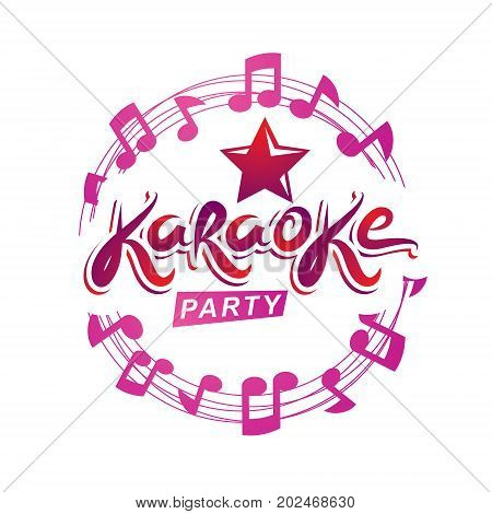 Musical karaoke performance flyer poster composed using circular decorative musical sheet with notes karaoke party inscription. Musical festival concept.