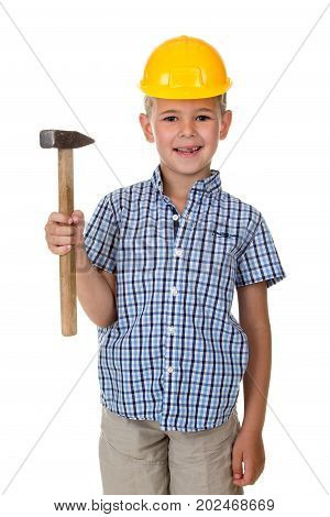 Cute teenager boy in blue checkered shirt and yellow building helmet, holding a hammer on white isolated background, half body, constructing concept