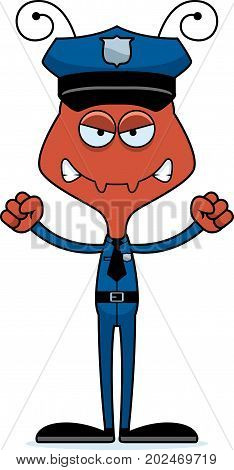 Cartoon Angry Police Officer Ant