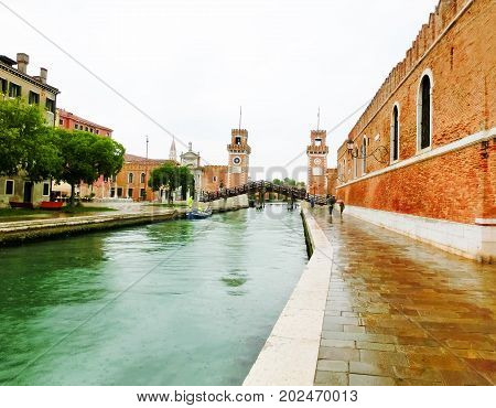The entrance of the Arsenale. Venice, Italy at rainy day