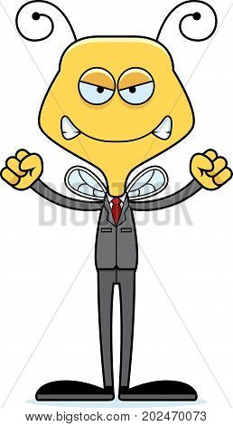 Cartoon Angry Businessperson Bee