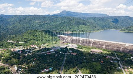 Aerial View From Drone Of Khun Dan Prakan Chon Dam And Landuse Around