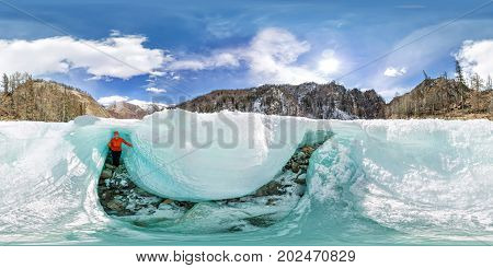 Female Inside The Crack In The Ice Glaciers Iceland. Spherical 360 180 Vr Panoramas