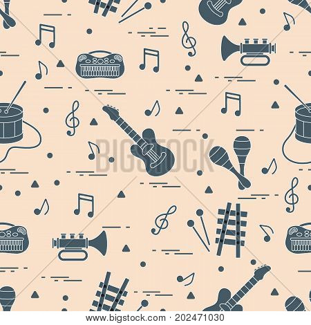 Vector Pattern Of Sheet Music And Different Musical Toys: Guitar, Drum, Trumpet, Xylophone, Maracas