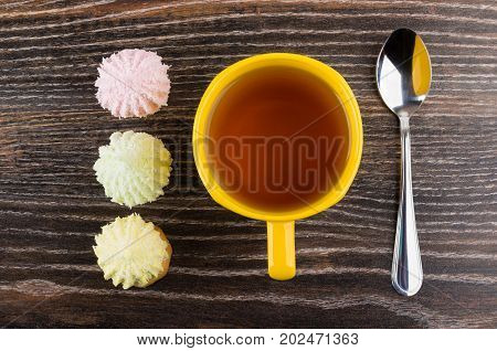 Cup Of Tea, Cookies With Souffle And Coconut Flakes, Teaspoon