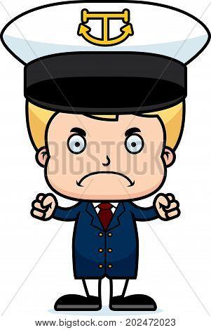Cartoon Angry Boat Captain Boy