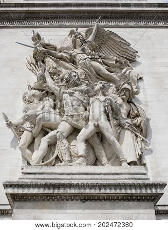 Paris; France- May 01; 2017:Triumphal Arch. Sculpture
