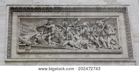 Paris; France- May 01; 2017: Triumphal arch on the Champs Elysees.Bas-relief
