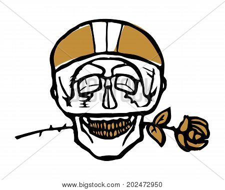 Funny emblem or sticker, scull in bike helmet with rose in teeth