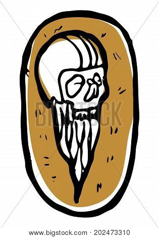 Funny low quality sticker, scull with beard in helmet. Can be used as tattoo