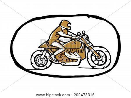 Emblem or sticker, hipster biker,cyclist in helmet,  on bike. Side view