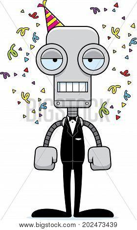 Cartoon Bored Party Robot