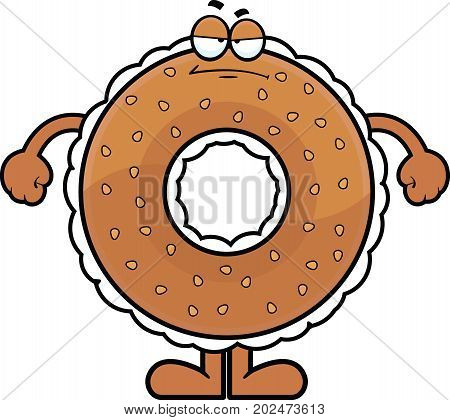 Cartoon illustration of a cream cheese filled bagel with a grumpy expression.
