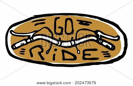 Oval emblem, sticker with steering or helm and go ride text