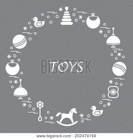 Vector Illustration Kids Elements Arranged In A Circle: Whirligig, Ball, Rocking Horse, Duck, Pyrami