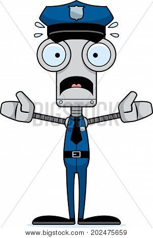 Cartoon Scared Police Officer Robot