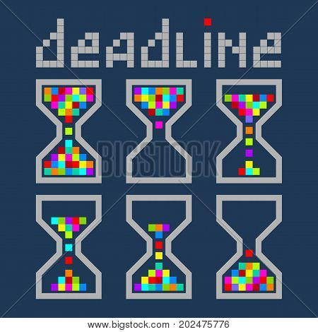 Hourglass time management business bright color icons set. Deadline animated pixel style sandclock vector eps10 illustration.
