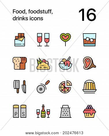 Colored Food, foodstuff, drinks icons for web and mobile design pack 3