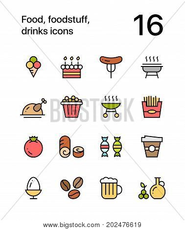 Colored Food, foodstuff, drinks icons for web and mobile design pack 4