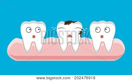 illustration of tooth sectional view decay with caries dental health problem - vector