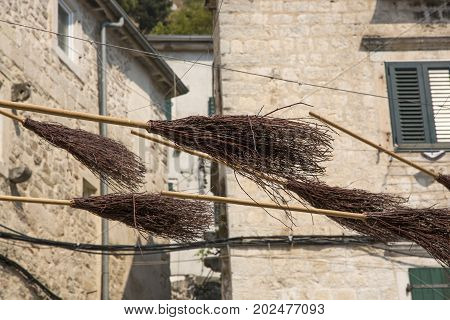 KOTOR, MONTENEGRO - AUGUST 04, 2017:Installation from a flying broom on one of the streets of Kotor Montenegro