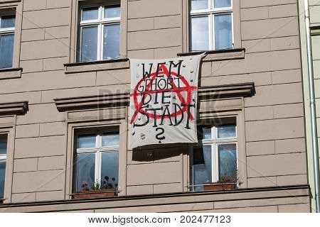 Berlin Germany circa August 2017: German protest slogan hanging on building facade in Berlin saying