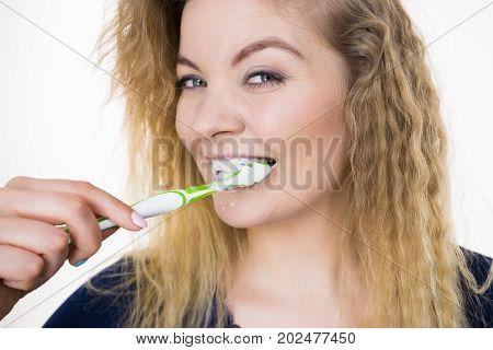 Woman Brushing Cleaning Teeth