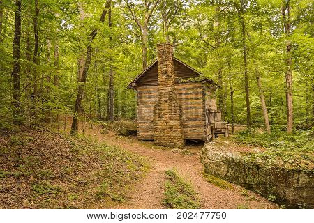 A pioneer style log cabin in the appalachian foothills. Located at Tishomingo State Park in northeast Mississippi.